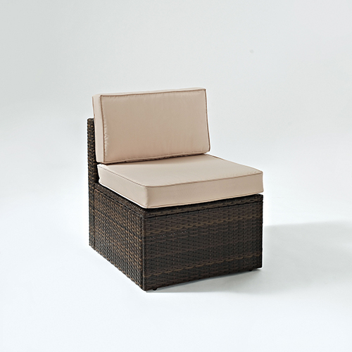 Palm Harbor Outdoor Wicker Center Chair in Brown With Sand Cushions
