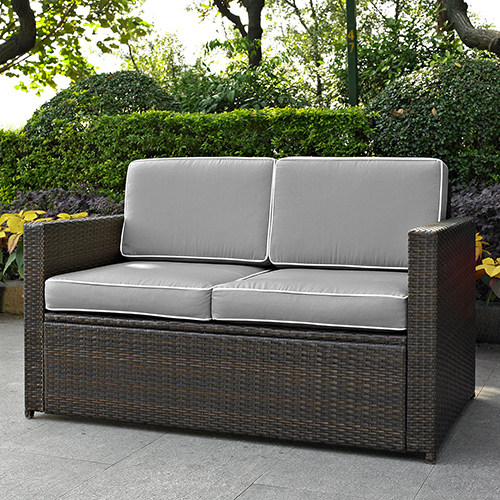 Crosley Furniture Palm Harbor Outdoor Wicker Loveseat in Brown With Grey Cushions
