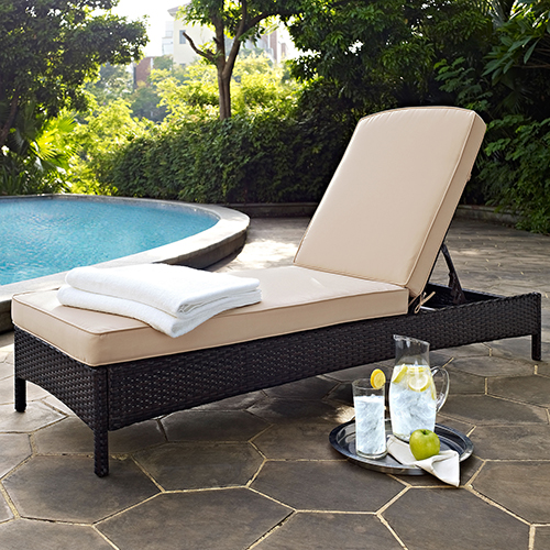 Crosley Furniture Palm Harbor Outdoor Wicker Chaise Lounge in Brown With Sand Cushions
