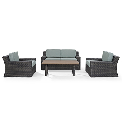 Crosley Furniture Beaufort 4 Piece Outdoor Wicker Seating Set With Mist Cushion - Loveseat, Two Chairs, Coffee Table