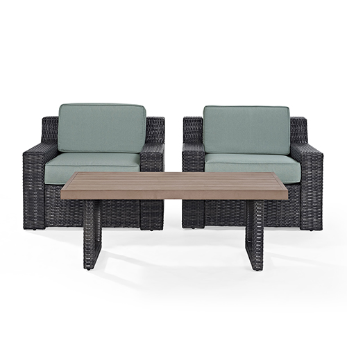 Beaufort 3 Piece Outdoor Wicker Seating Set With Mist Cushion - Two Outdoor Wicker Chairs, Coffee Table