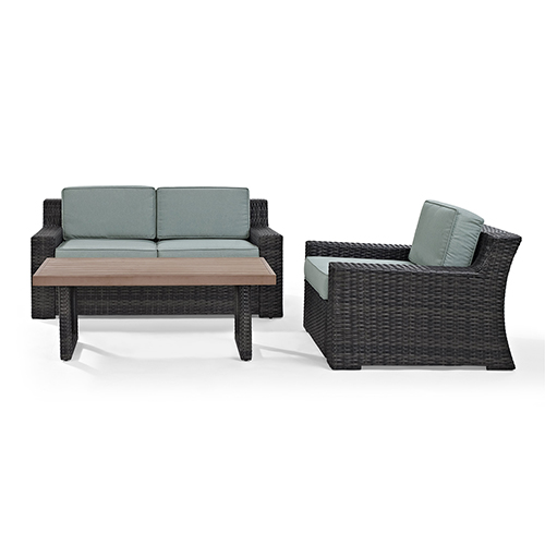 Crosley Furniture Beaufort 3 Piece Outdoor Wicker Seating Set With Mist Cushion - Loveseat, Chair , Coffee Table
