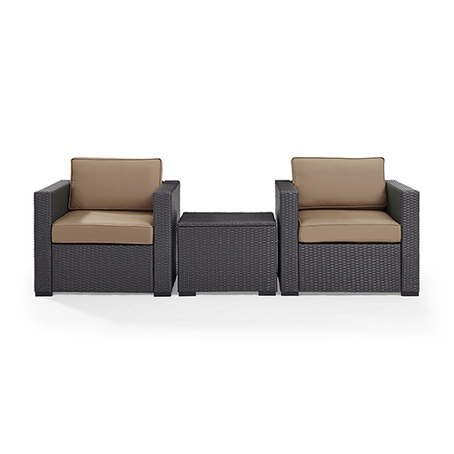 Crosley Furniture Biscayne 2 Person Outdoor Wicker Seating Set in Mocha - Two Outdoor Wicker Chairs and Coffee Table