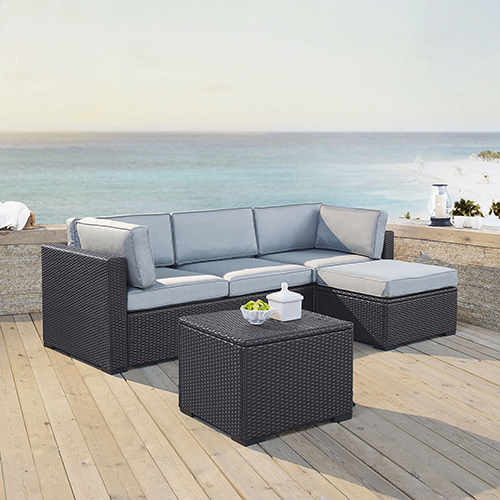 Biscayne 4 Person Outdoor Wicker Seating Set in Mist - One Loveseat, One Corner Chair, Ottoman, Coffee Table