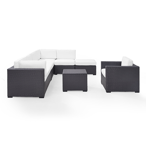Biscayne 7 Person Outdoor Wicker Seating Set in White - Two Loveseats, One Armless Chair, One Arm Chair, Coffee Table,
