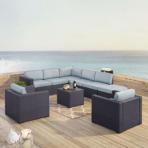 Crosley Furniture Biscayne 8 Person Outdoor Wicker Seating Set in Mist  - Two Loveseats, Two Arm Chairs, One Armless Chair,