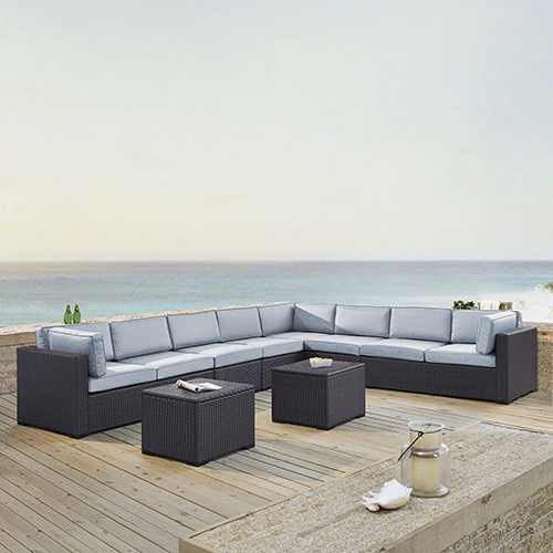 Biscayne 8 Person Outdoor Wicker Seating Set in Mist - Three Loveseats, Two Armless Chair, Two Coffee Table