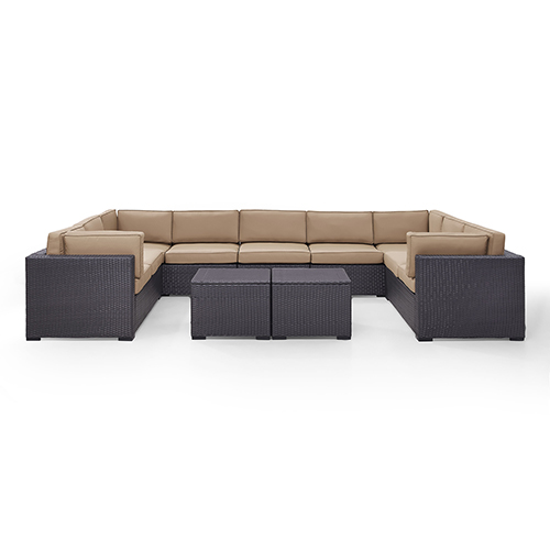 Crosley Furniture Biscayne 9 Person Outdoor Wicker Seating Set in Mocha - Four Loveseats, One Armless Chair, Two Coffee