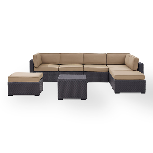 Crosley Furniture Biscayne 7 Person Outdoor Wicker Seating Set in Mocha - Two Loveseats, One Armless Chair, Coffee Table, Two