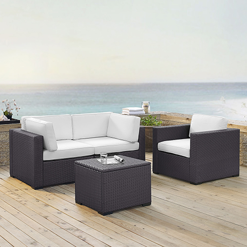 Crosley Furniture Biscayne 3 Person Outdoor Wicker Seating Set in White - Two Corner Chairs, One Arm Chair, One Coffee Table