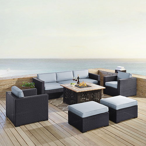 Crosley Furniture Biscayne 7 Person Outdoor Wicker Seating Set in Mist - One Loveseat, One Corner Chair, Two Arm Chairs, Two