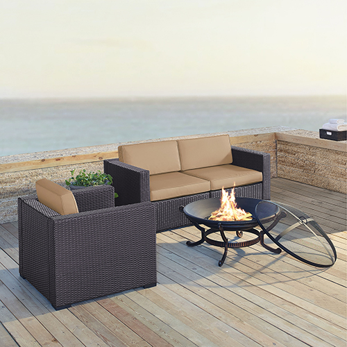 Crosley Furniture Biscayne 3 Person Outdoor Wicker Seating Set in Mocha - Two Corner Chairs, One Arm Chair, Ashland Firepit