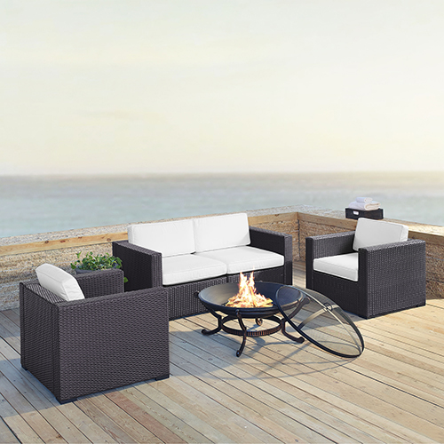 Crosley Furniture Biscayne 4 Person Outdoor Wicker Seating Set in White - Two Armchairs, Two Corner Chair, Ashland Firepit