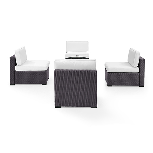 Biscayne 4 Person Outdoor Wicker Seating Set in White - Four Armless Chairs, Ashland Firepit