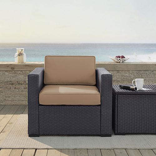 Crosley Furniture Biscayne Armchair With Mocha Cushions