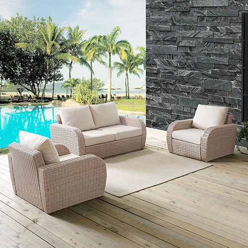 St Augustine 3 Piece Outdoor Wicker Seating Set With Oatmeal Cushion - Loveseat, Two Outdoor Chairs