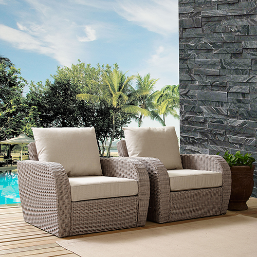 St Augustine 2 Piece Outdoor Wicker Seating Set With Oatmeal Cushion -  Two Outdoor Wicker Chairs