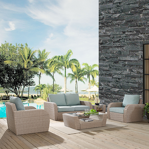 Crosley Furniture St Augustine 5 Piece Outdoor Wicker Seating Set With Mist Cushion - Loveseat, Two Chairs, Coffee Table,