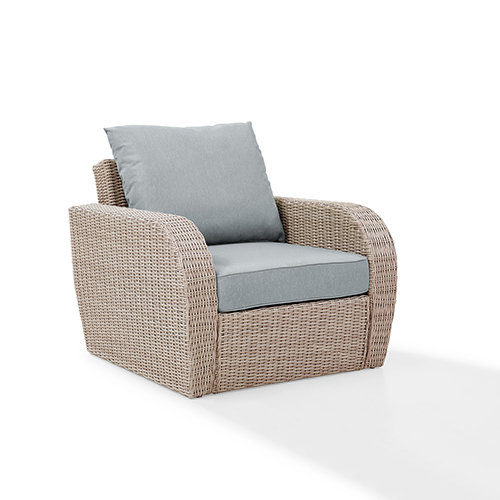 Crosley Furniture St Augustine Outdoor Wicker Arm Chair in Weathered White With Universal Mist Cushion