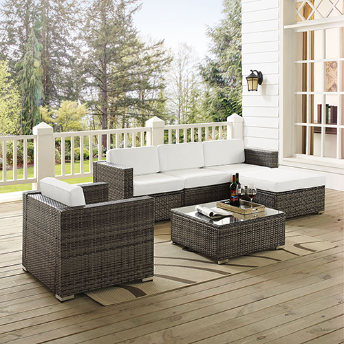 Crosley Furniture Sea Island 6 Piece Wicker Sofa Set In Gray Ko70145