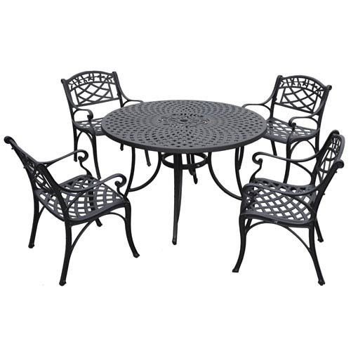 Sedona 48 Inch Five Piece Cast Aluminum Outdoor Dining Set With Arm Chairs  In Black