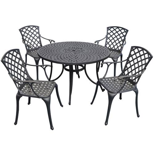 Crosley Furniture Sedona 48 Inch Five Piece Cast Aluminum Outdoor Dining Set With High Back Arm Chairs In Black Finish