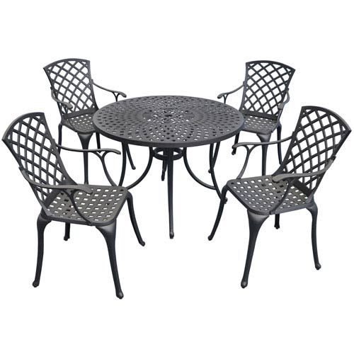 Sedona 42-Inch Five Piece Cast Aluminum Outdoor Dining Set with High Back Arm Chairs in Black Finish
