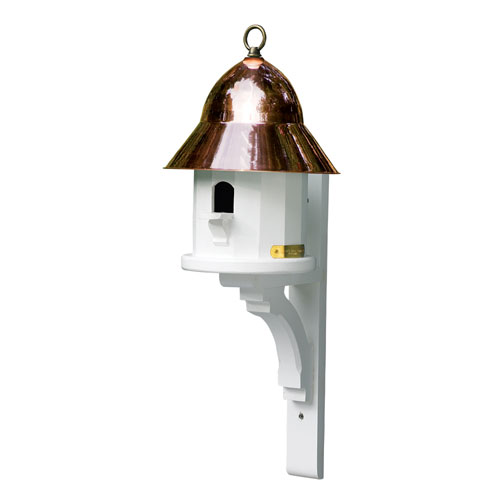 Polished Copper and White 14-Inch Bird Feeder/Bird House with Polished Copper Roof