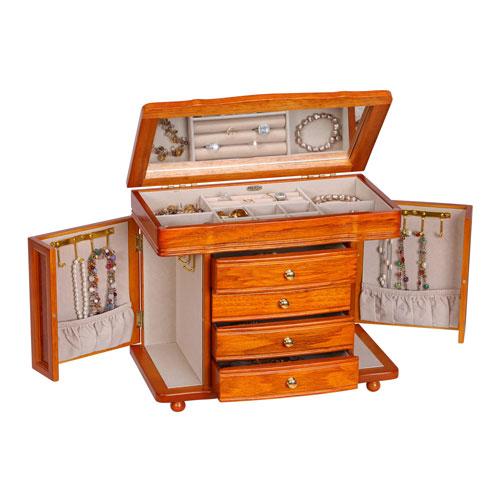 Josephine Jewelry Box with Necklace Doors in Oak
