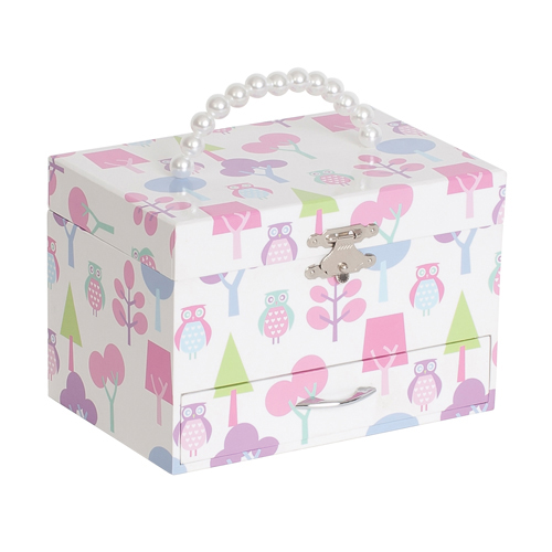 Multi-Colored Molly Girls Musical Ballerina Jewelry Box with Owl Pattern