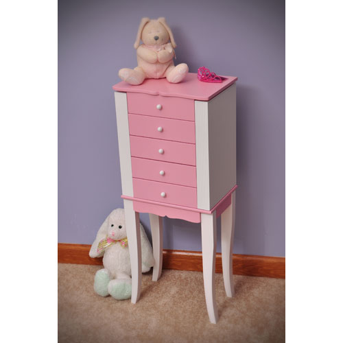 Louisa Pink and White Jewelry Armoire