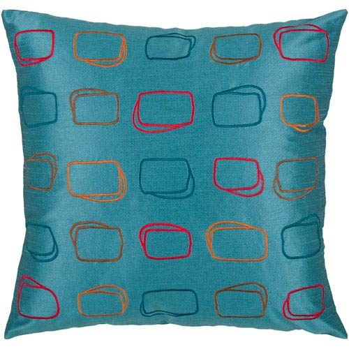 Rizzy Rugs Rizzy Home Peacock Blue 18 Inch x 18 Inch Pillow Cover with Hidden Zipper