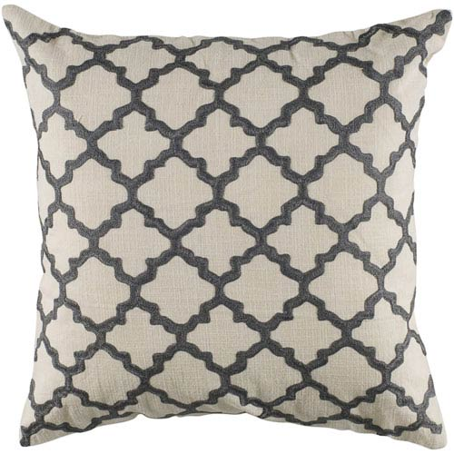 Rizzy Rugs Rizzy Home Gray 18 Inch x 18 Inch Pillow Cover with Hidden Zipper