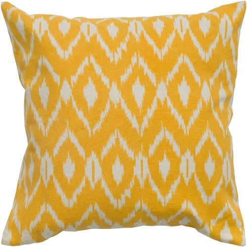 Rizzy Rugs Beige and Mustard 18 x 18-Inch Pillow with Hidden Zipper