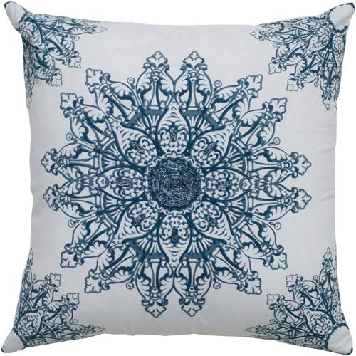 Rizzy Rugs White and Navy 18 x 18-Inch Pillow with Hidden Zipper