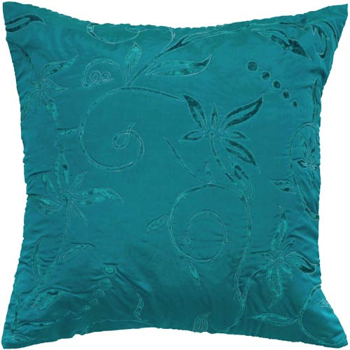 Rizzy Rugs Teal Poly Velvet 18 x 18-Inch Pillow with Hidden Zipper