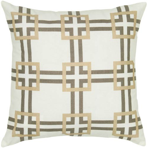 Rizzy Rugs Gray and Khaki 18 x 18-Inch Pillow with Hidden Zipper