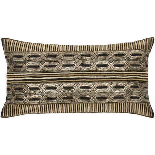 Black 11 x 21-Inch Pillow with Hidden Zipper