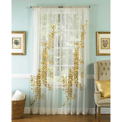 Lhasa Gold And White 96 X 50 Inch Sheer Curtain Single Panel