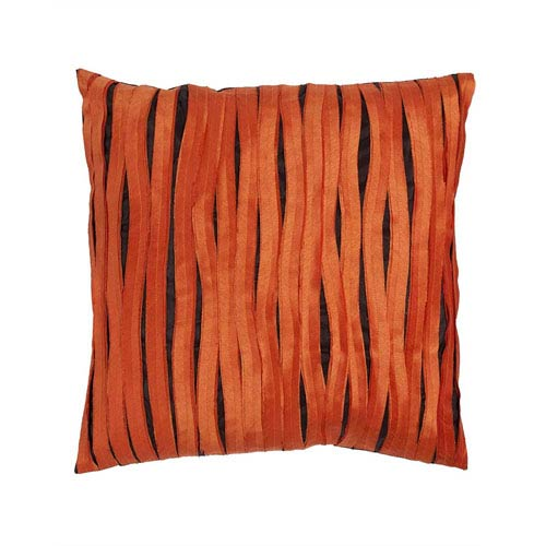 Cloud9 Design Crazy Stripe  Chocolate Pillow With Orange Stripe