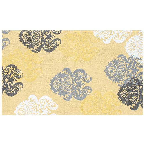The Rug Market Brocade Yellow and White Rectangular: 4 Ft. 7 In. x 7 Ft. 7 In. Rug
