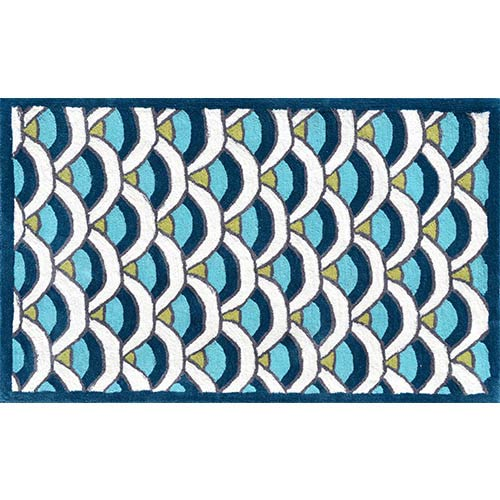 Chi-Lin Blue and White Rectangular: 4 Ft. 7 In. x 7 Ft. 7 In. Rug