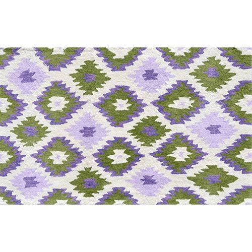 Ikati White and Green Rectangular: 4 Ft. 7 In. x 7 Ft. 7 In. Rug