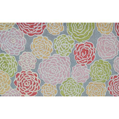 Multi Rose Gray and Pink Rectangular: 4 Ft. 7 In. x 7 Ft. 7 In. Rug
