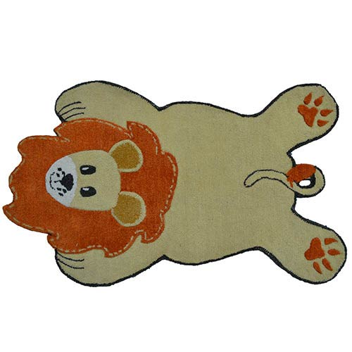 Animal Shapes Gold and Orange Lion Rectangular: 2 Ft. 8 In. x 4 Ft. 8 In. Rug
