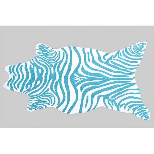 The Rug Market Zebra Teal and White Rectangular: 5 Ft. x 8 Ft. Rug