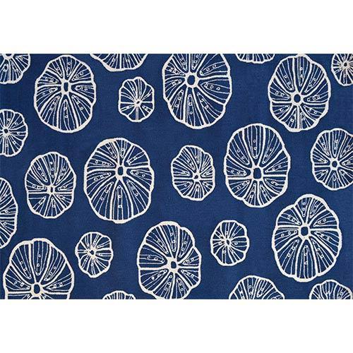 The Rug Market Aquatic Jellyfish Blue and White Rectangular: 5 Ft. x 8 Ft. Rug