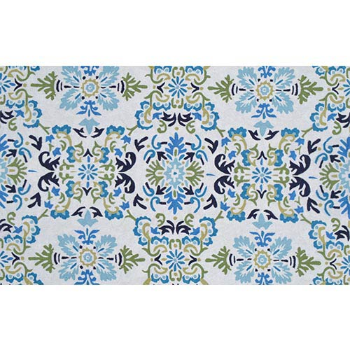 The Rug Market Floral Seriano White and Blue Rectangular: 5 Ft. x 8 Ft. Rug