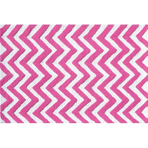 The Rug Market Chevron Pink and White Rectangular: 5 Ft. x 7 Ft. 6 In. Rug