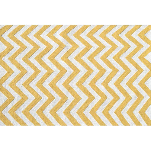 The Rug Market Chevron Yellow and White Rectangular: 5 Ft. x 7 Ft. 6 In. Rug